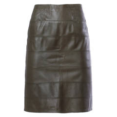 Krizia Vintage 1990s 90s Olive Green Buttery Sheepskin Leather Skirt