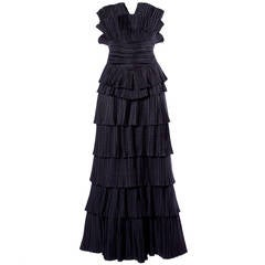 Louis Feraud Vintage Strapless Black Sculptural Origami Pleated Dress