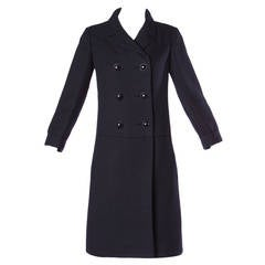 Christian Dior Vintage 1960s 60s Pristine Black Wool Pea Coat