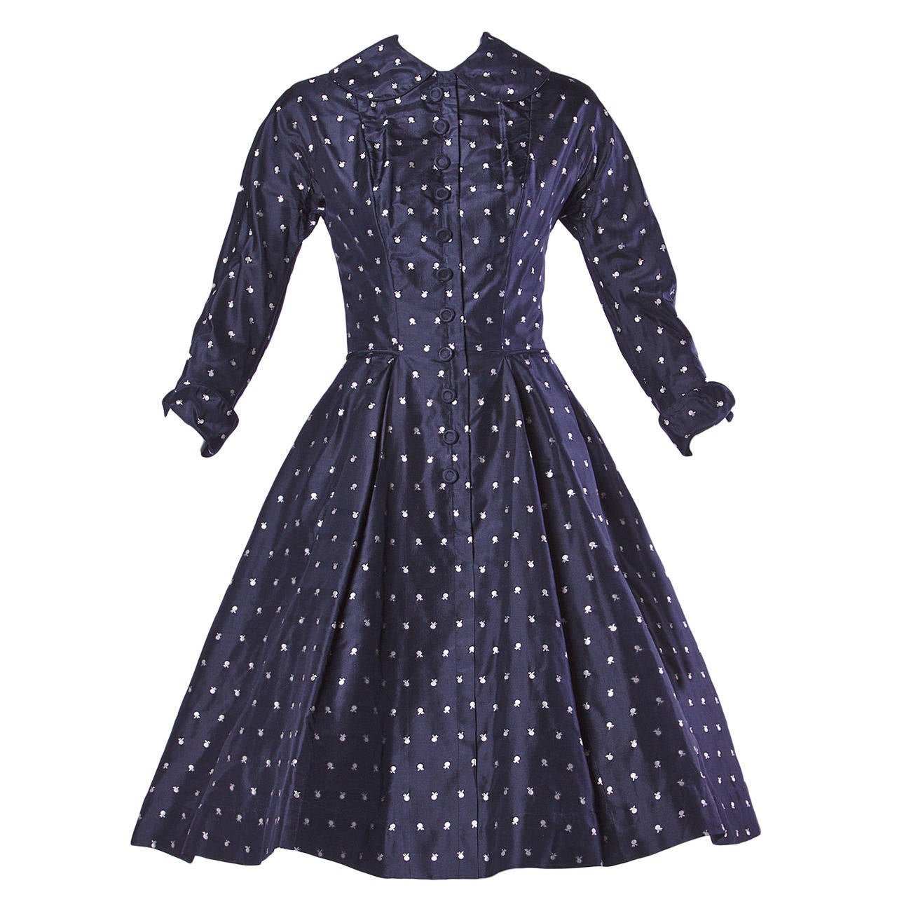Ceil Chapman Vintage 1950s 50s Fruit Print Navy Silk Dress with Box Pleats For Sale