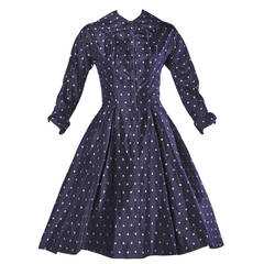 Ceil Chapman Vintage 1950s 50s Fruit Print Navy Silk Dress with Box Pleats