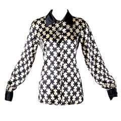 Moschino Vintage 1990s 90s Puzzle Piece Novelty Print Button Up Blouse