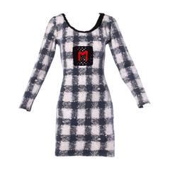 """Moschino Vintage 1990s 90s Trompe L'oeil """"Woven"""" Print Body Con Dress"""