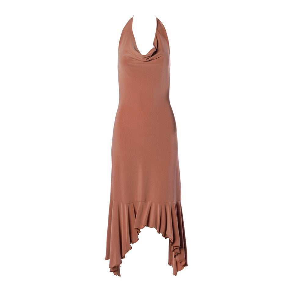 Unworn Prada Deadstock Tan Jersey Knit Open Back Halter Dress For Sale
