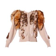 Unworn Vintage 1980s 80s Fox Fur Tails Embellished Cardigan Sweater Jacket