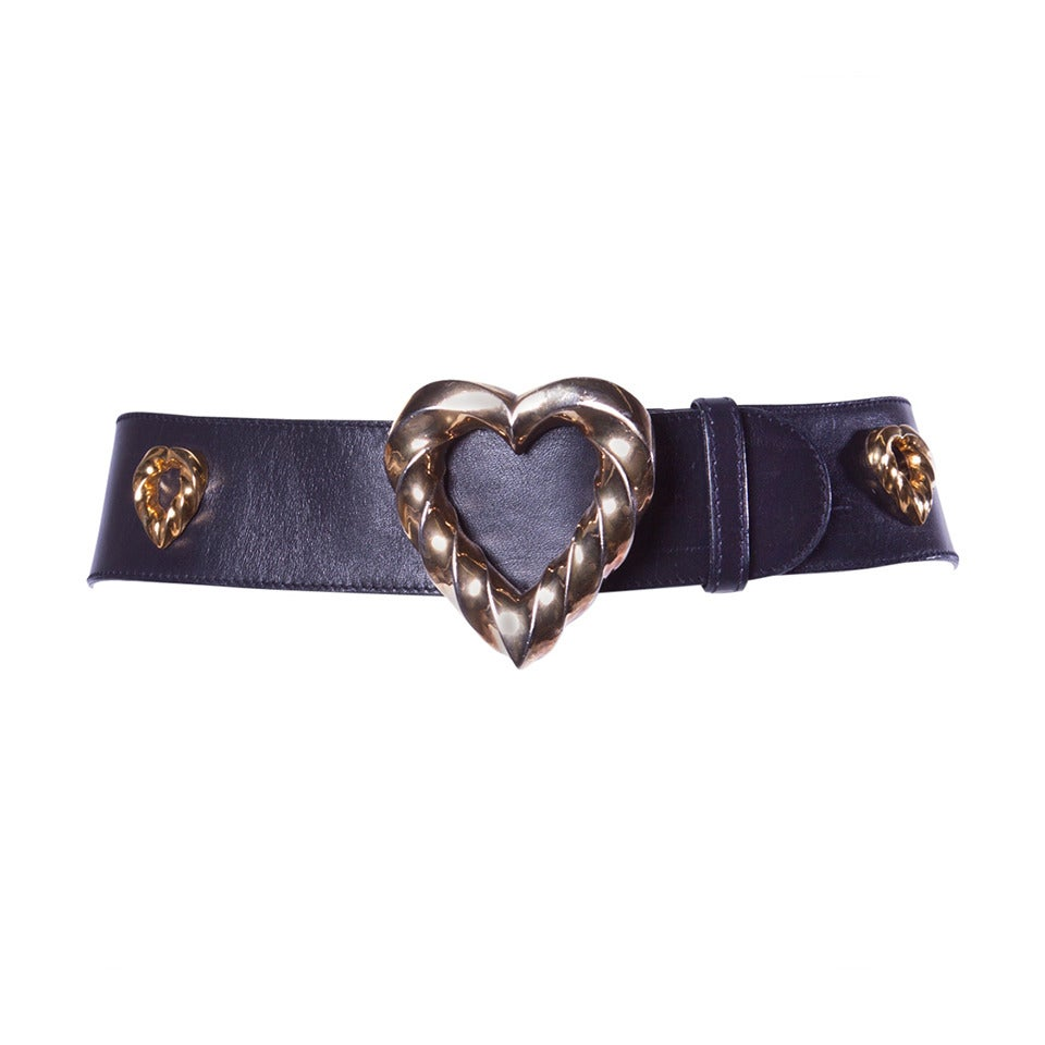 Iconic Escada Vintage 1980s 80s Black Leather Gold Heart Belt For Sale