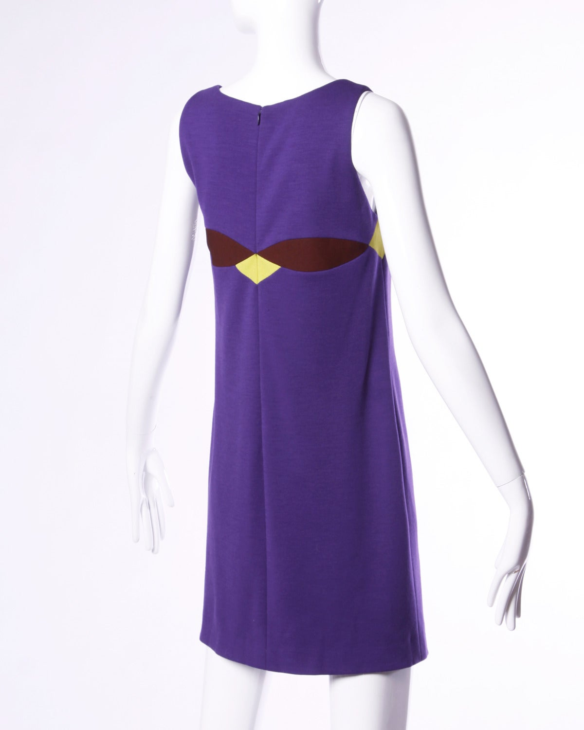 Gianni Versace Couture Vintage 1990s 90s Color Block Wool Shift Dress In Excellent Condition For Sale In Sparks, NV