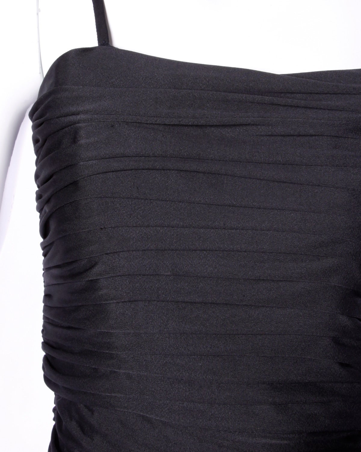 Lilli Diamond Vintage 1970s 70s Black Asymmetric Ruched Cocktail Dress In Excellent Condition For Sale In Sparks, NV