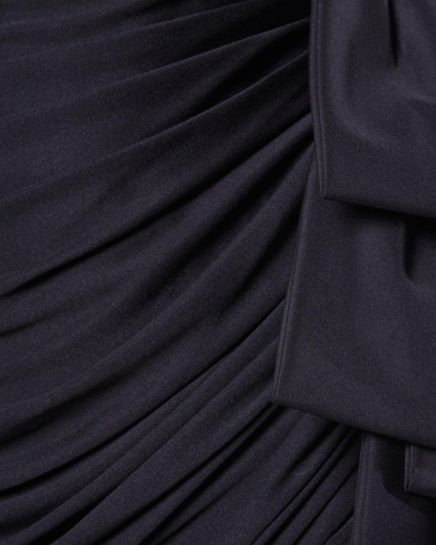 Women's Lilli Diamond Vintage 1970s 70s Black Asymmetric Ruched Cocktail Dress For Sale
