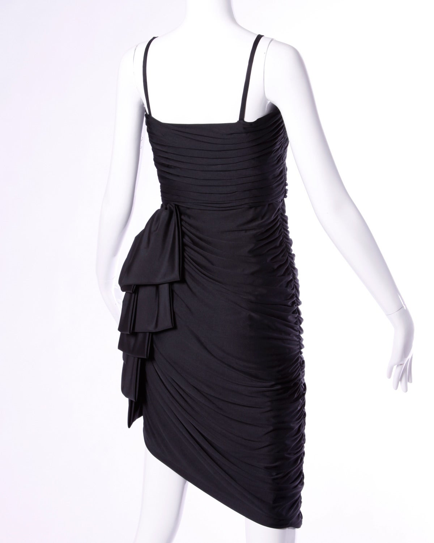 Lilli Diamond Vintage 1970s 70s Black Asymmetric Ruched Cocktail Dress For Sale 1