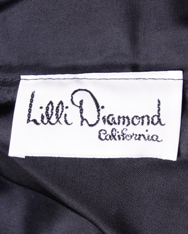 Lilli Diamond Vintage 1970s 70s Black Asymmetric Ruched Cocktail Dress For Sale 2