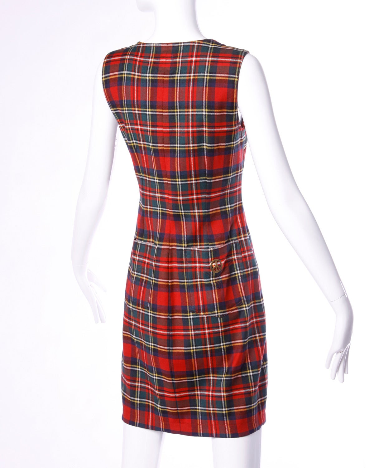 Unworn Moschino Vintage 1990s 90s Red Tartan Plaid Mini Sheath Dress 2