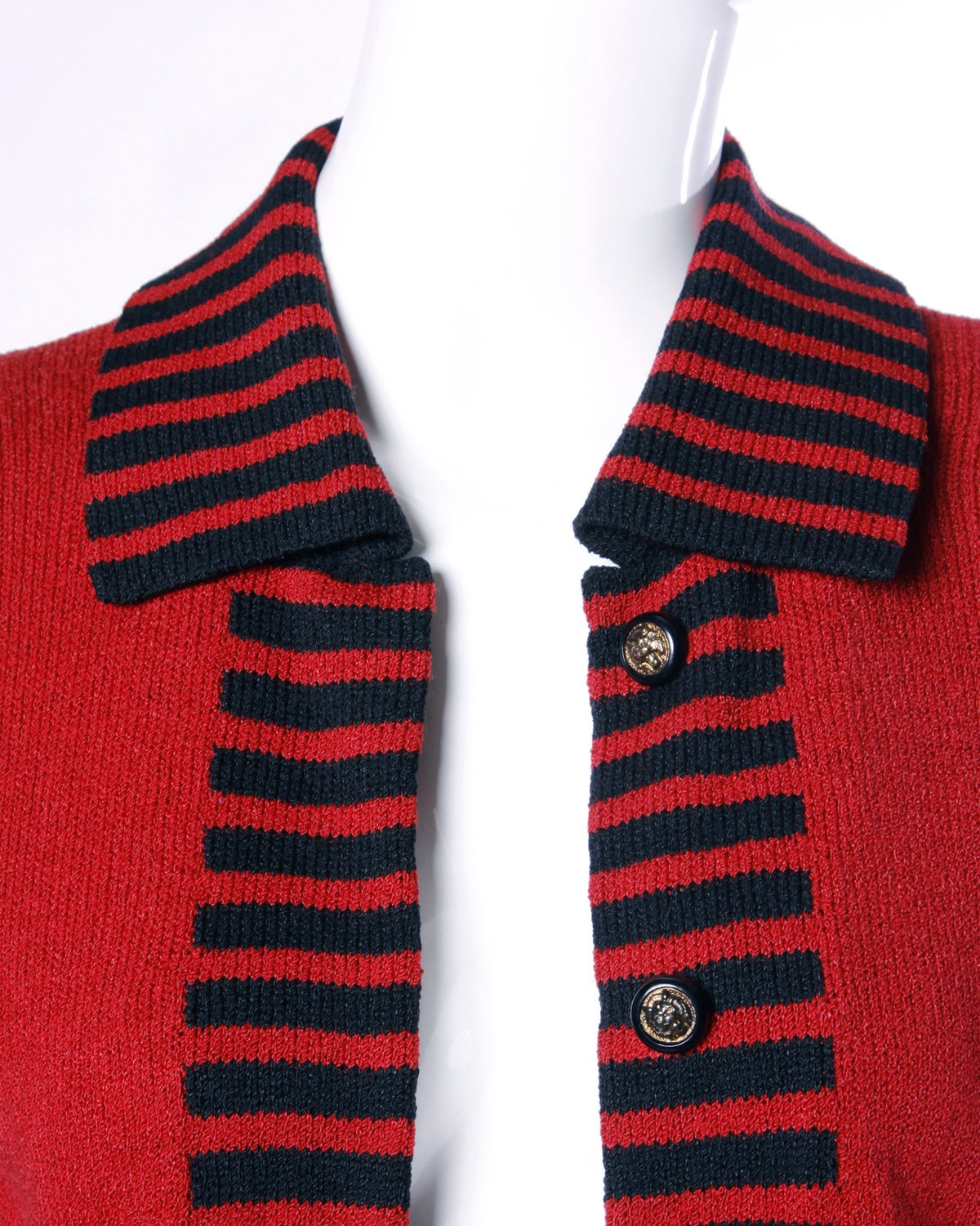 Adolfo Vintage Red & Black Striped Knit Cardigan Sweater or Suit Jacket In Excellent Condition For Sale In Sparks, NV