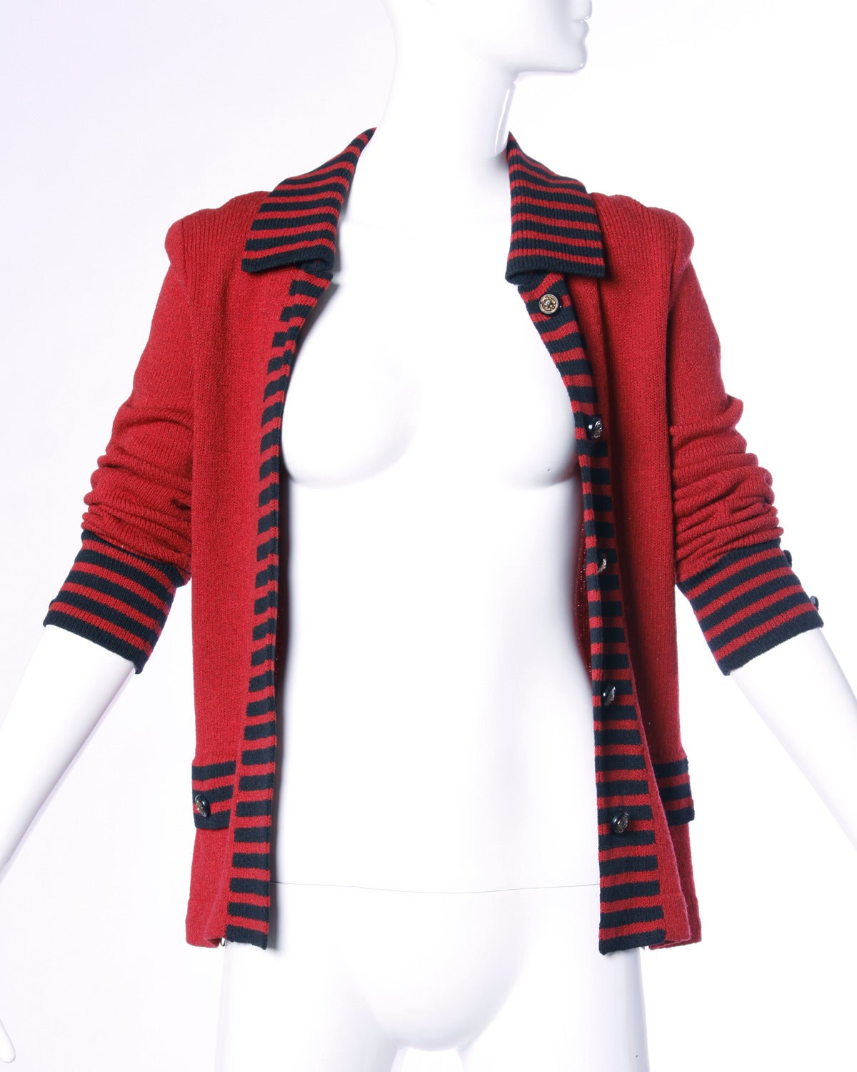 Adolfo Vintage Red & Black Striped Knit Cardigan Sweater or Suit Jacket For Sale 2