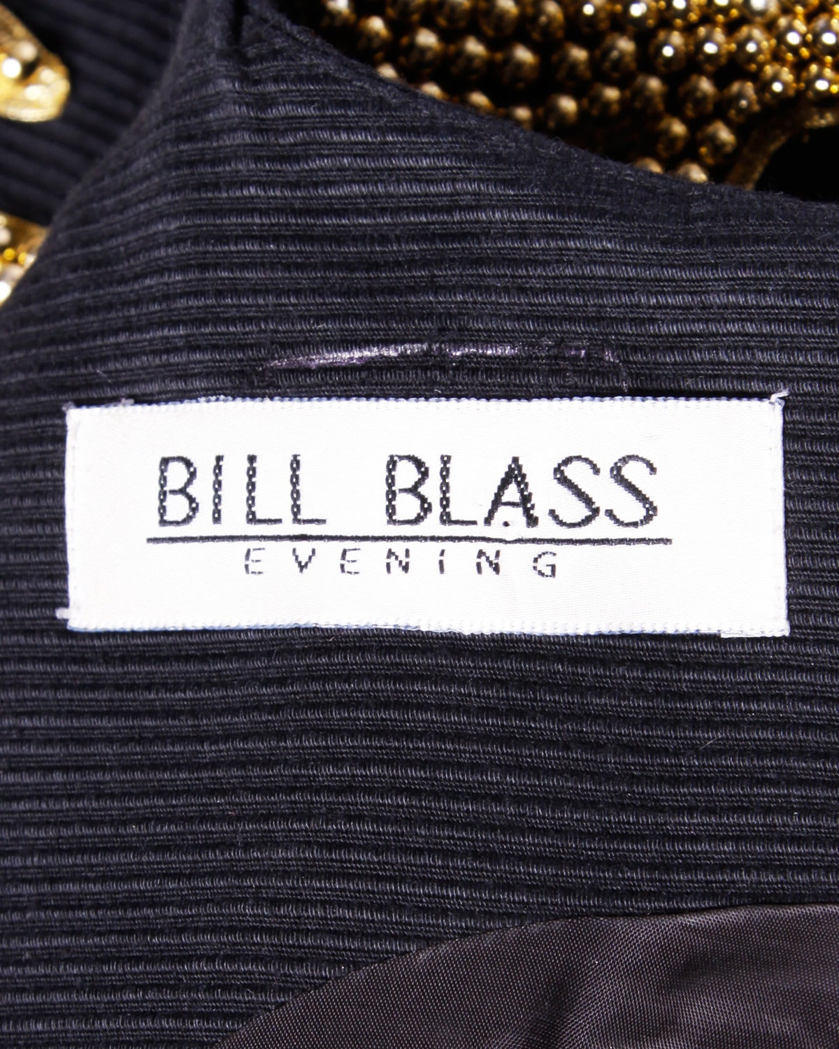 Bill Blass Vintage 1990s 90s Metallic Gold + Silver Beaded Black Formal Dress For Sale 2