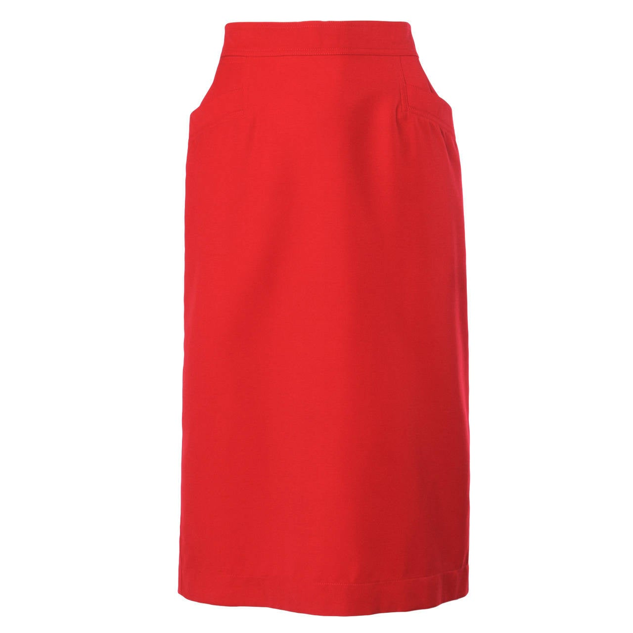 Krizia Vintage 1990s 90s Red Wool Pencil Skirt