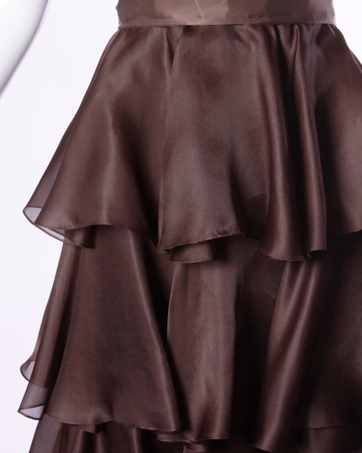Black Bill Blass Vintage Chocolate Brown Tiered Silk Party Dress For Sale