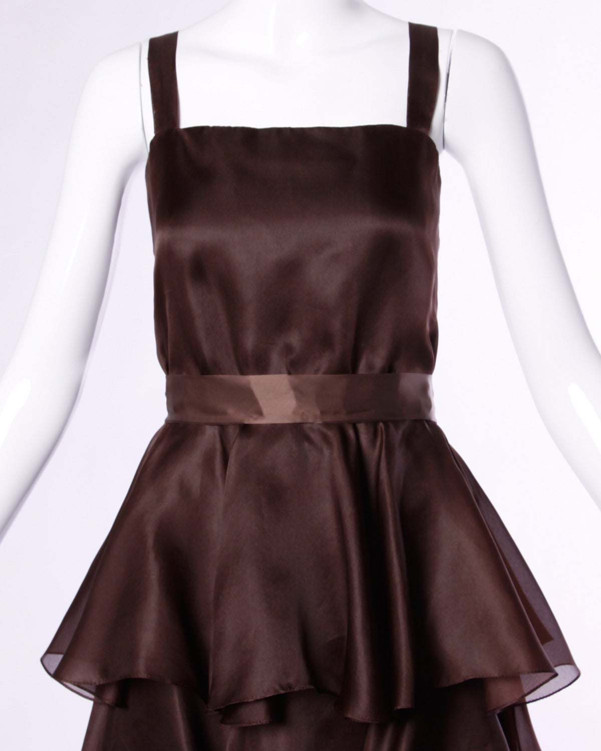 Elegant chocolate brown tiered silk party dress by Bill Blass. Simple and chic.