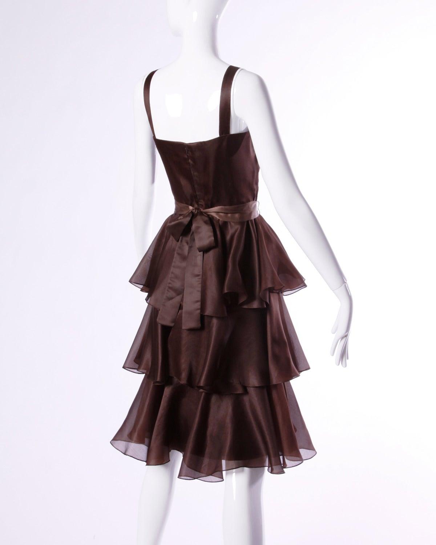 Bill Blass Vintage Chocolate Brown Tiered Silk Party Dress 4