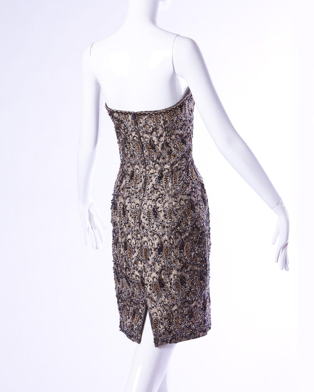 Oscar de la Renta Attributed Vintage 1960s 60s Beaded Cocktail Dress 2