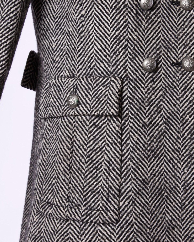 Women's Jean Louis Scherrer Vintage 1970s 70s Military-Inspired Herringbone Coat For Sale