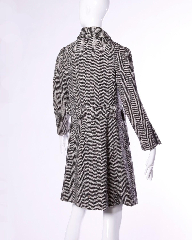 Black Jean Louis Scherrer Vintage 1970s 70s Military-Inspired Herringbone Coat For Sale