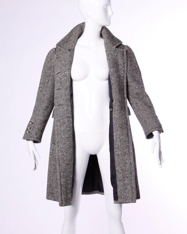 Jean Louis Scherrer Vintage 1970s 70s Military-Inspired Herringbone Coat For Sale 1