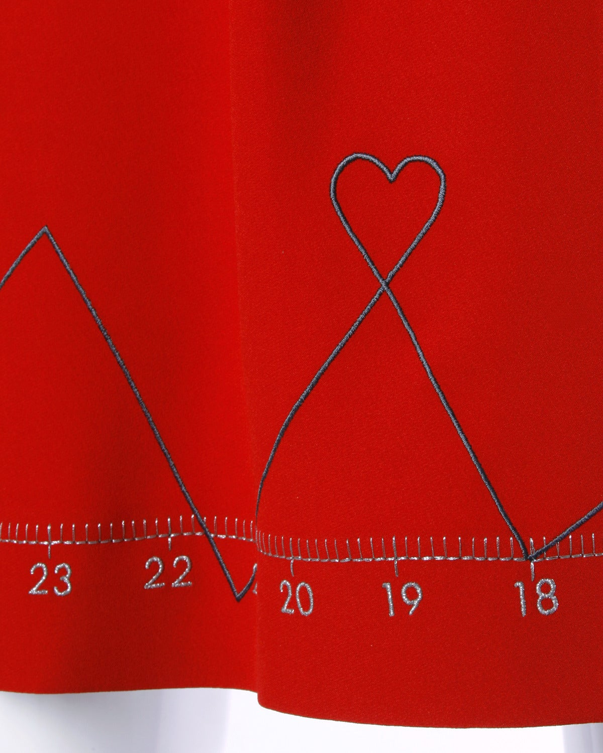 """Iconic Moschino Vintage 1990s 90s """"Love Charts + Graphs"""" Valentines Red Dress 4"""