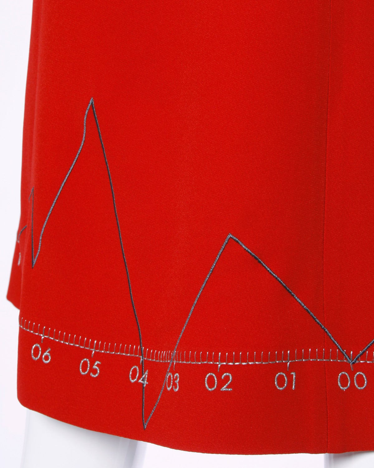 """Iconic Moschino Vintage 1990s 90s """"Love Charts + Graphs"""" Valentines Red Dress 5"""