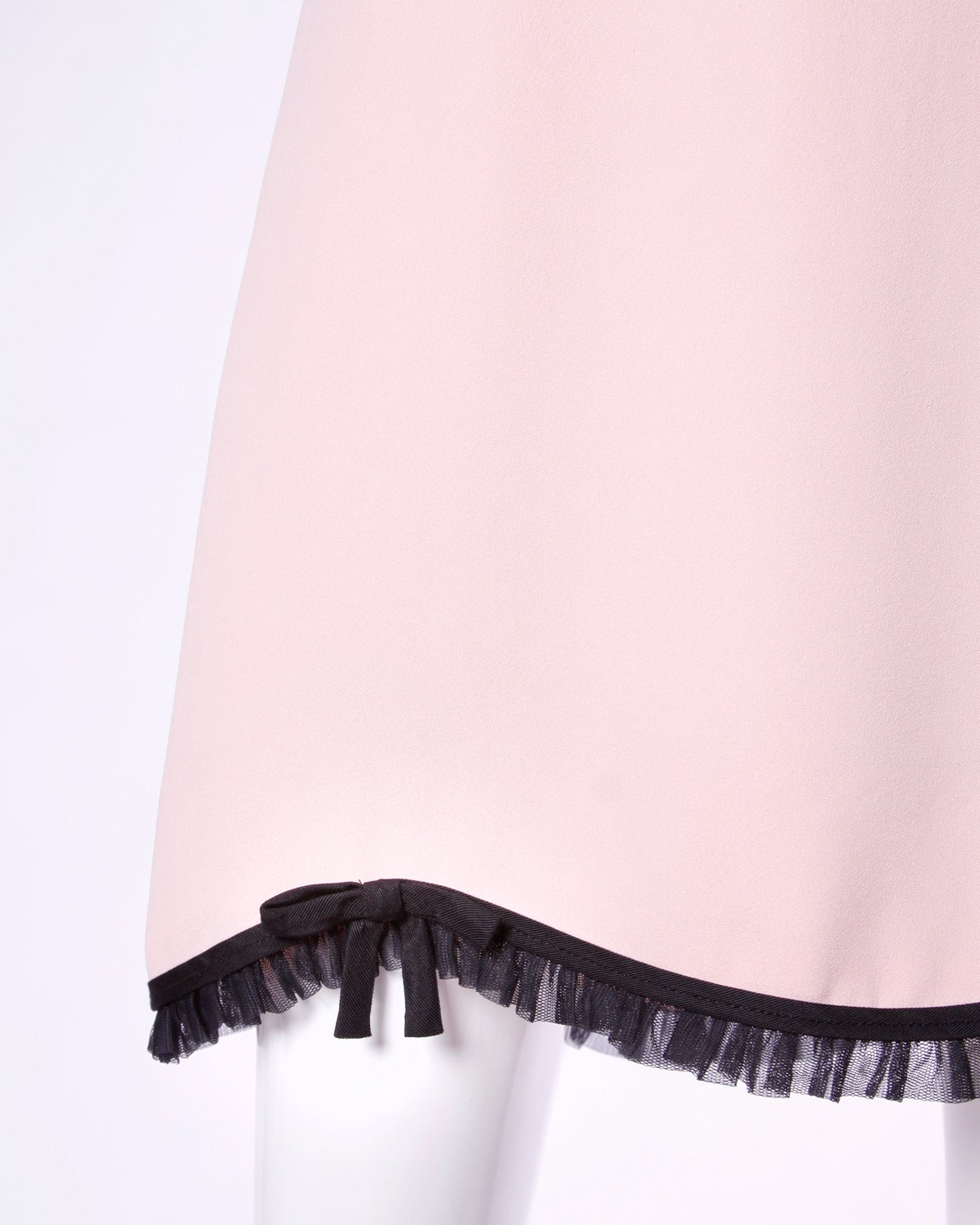 Moschino Vintage 1990s 90s Pink + Black Ruffle Scalloped Skirt 3