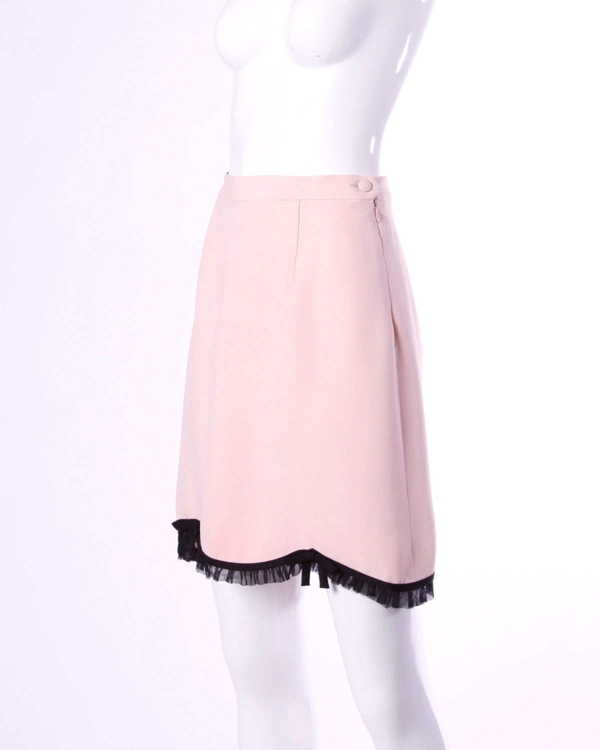 Moschino Vintage 1990s 90s Pink + Black Ruffle Scalloped Skirt 4