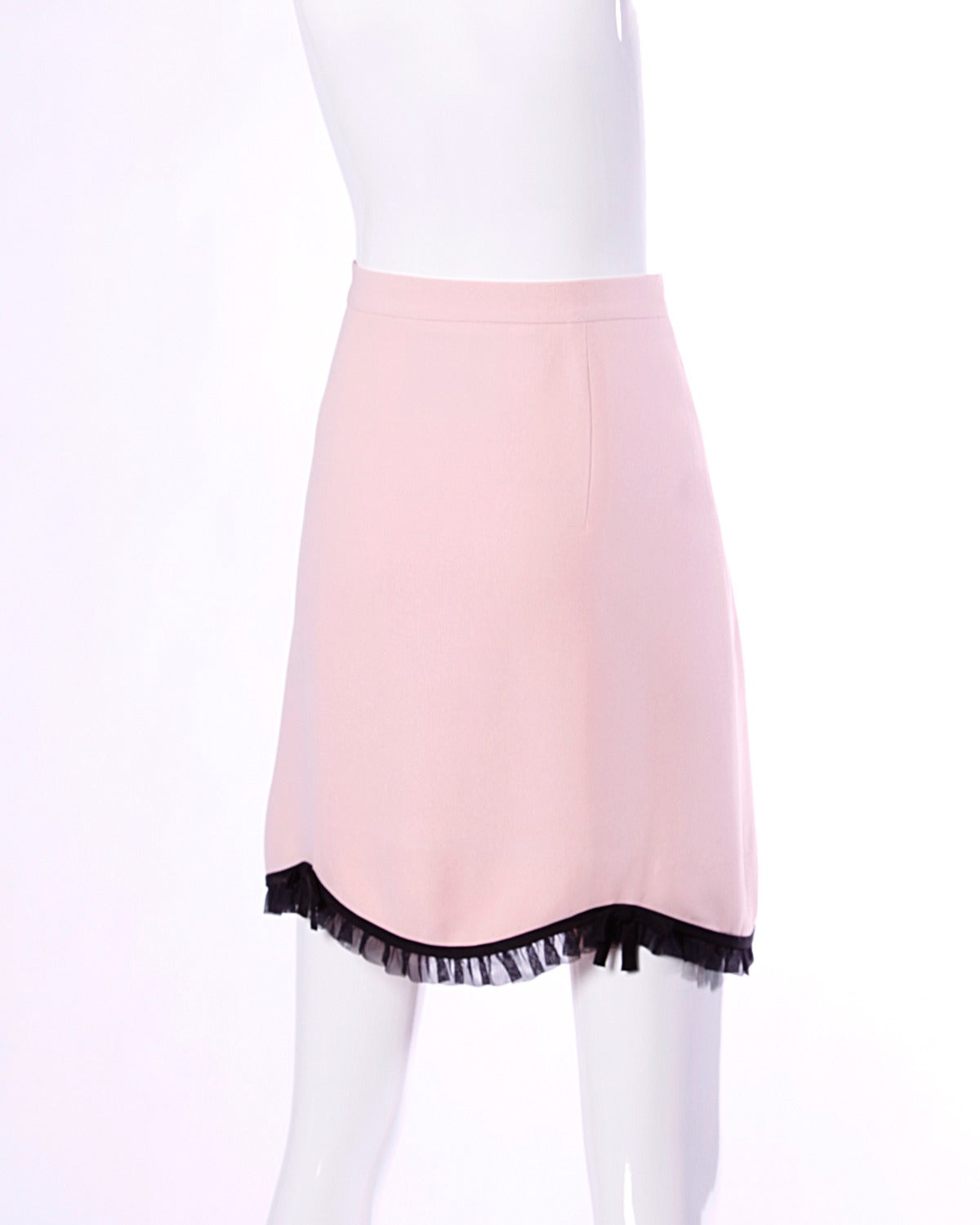 Moschino Vintage 1990s 90s Pink + Black Ruffle Scalloped Skirt 2