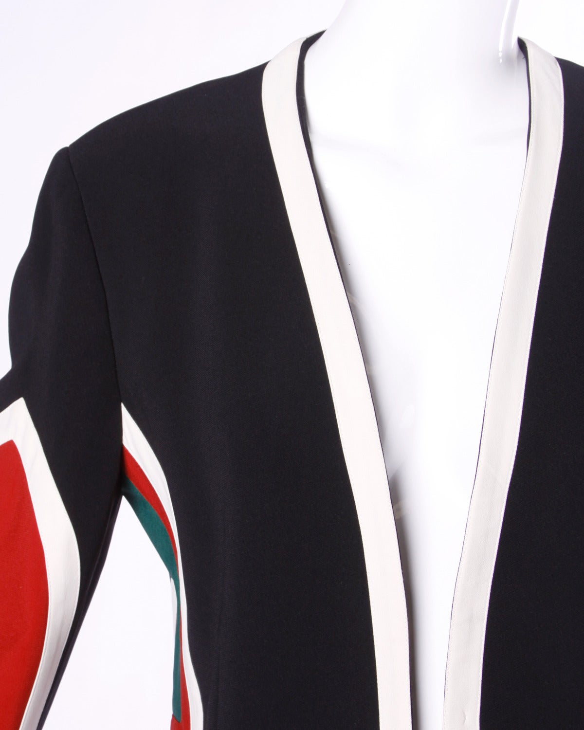 Moschino Couture! Vintage 1990s 90s Color Block Dart Board Blazer Jacket 2