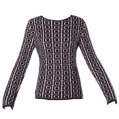 Krizia Vintage 1990s 90s Black + White Wool Geometric Graphic Knit Sweater