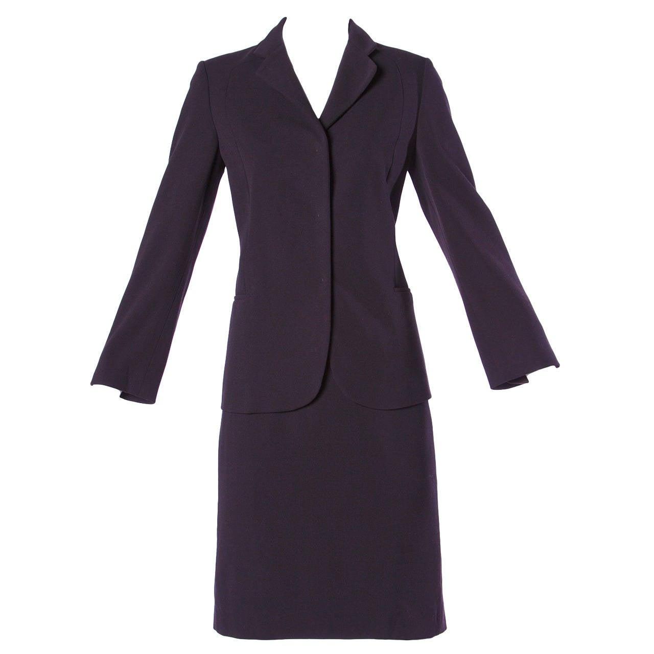 Jil Sander Vintage 1990s 90s Minimalist Brown Skirt + Jacket Suit Ensemble