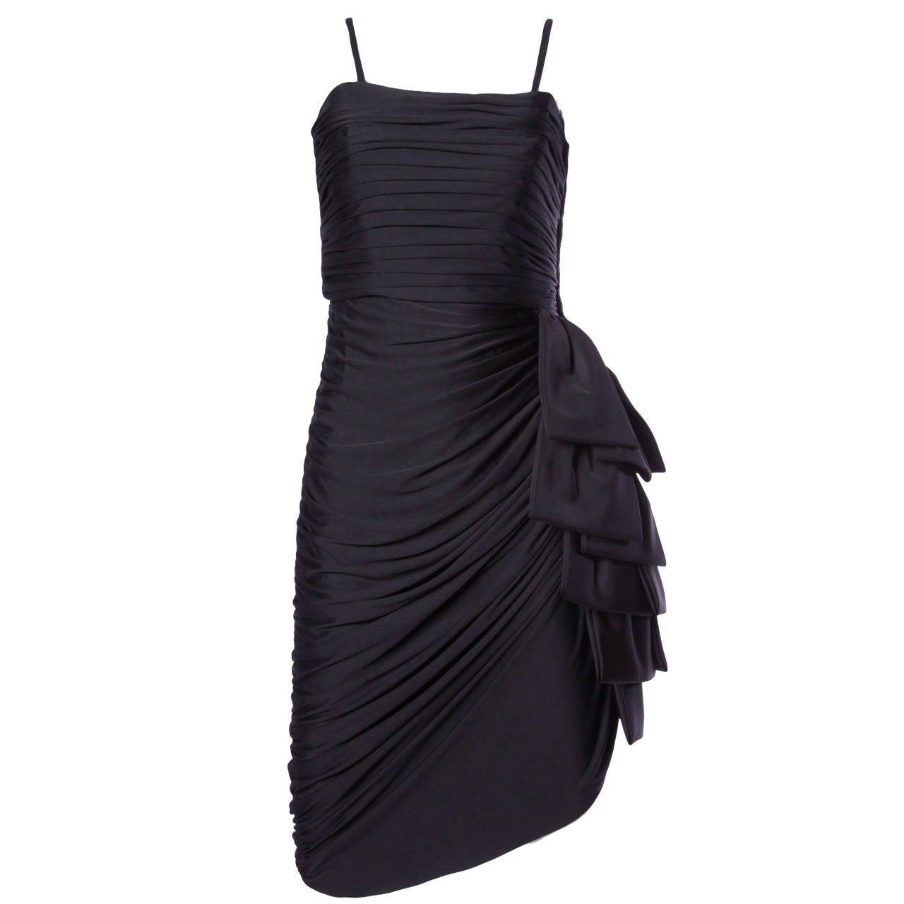 Lilli Diamond Vintage 1970s 70s Black Asymmetric Ruched Cocktail Dress For Sale