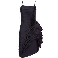 Lilli Diamond Vintage 1970s 70s Black Asymmetric Ruched Cocktail Dress