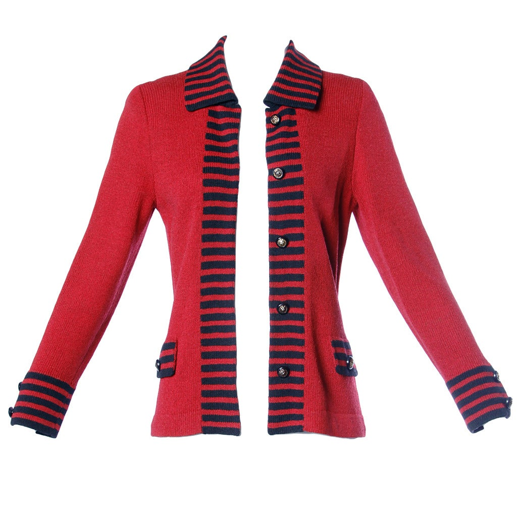 Adolfo Vintage Red and Black Striped Knit Cardigan Sweater or Suit ...