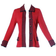 Adolfo Vintage Red & Black Striped Knit Cardigan Sweater or Suit Jacket