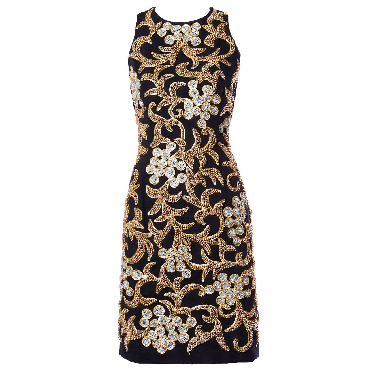 Bill Blass Vintage 1990s 90s Metallic Gold + Silver Beaded Black Formal Dress For Sale