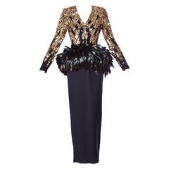 Amen Wardy Vintage 1980s 80s Metallic Gold Sequin + Feather Peplum Dress