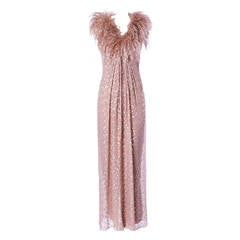 Victor Costa Vintage 1970s 70s Metallic Chiffon Maxi Dress with Feather Trim