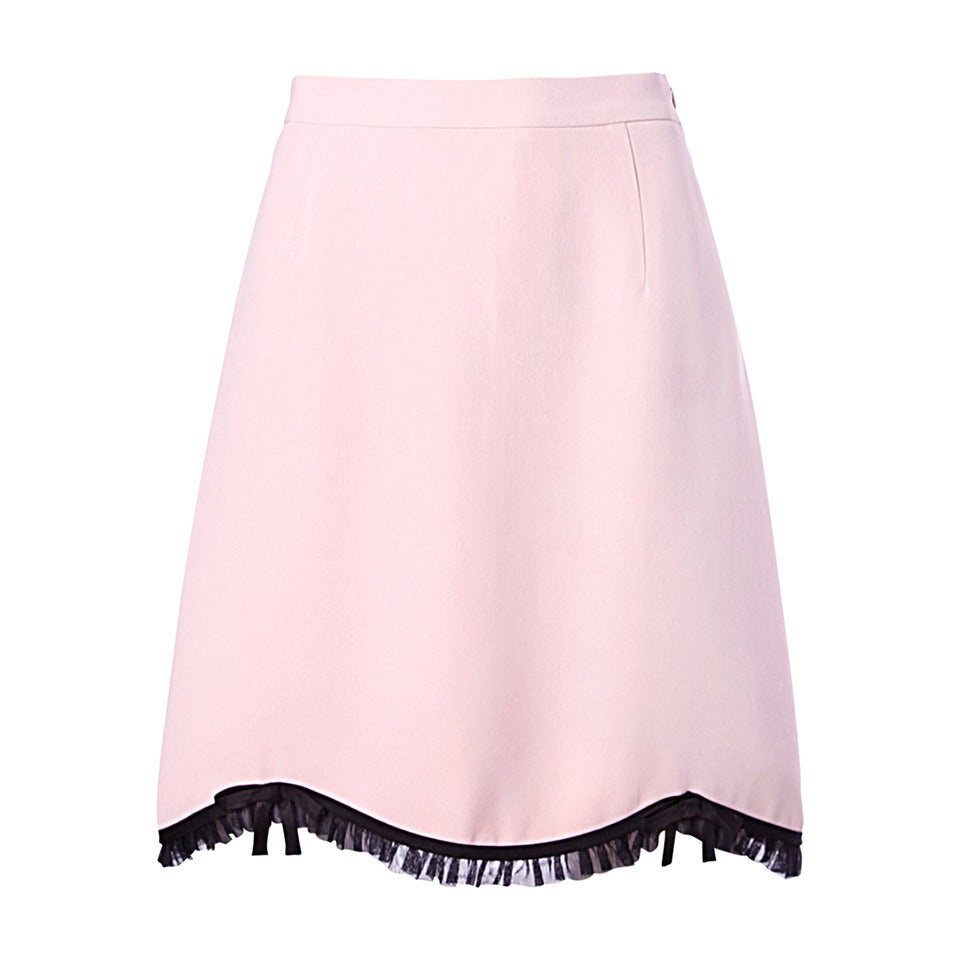 Moschino Vintage 1990s 90s Pink + Black Ruffle Scalloped Skirt 1