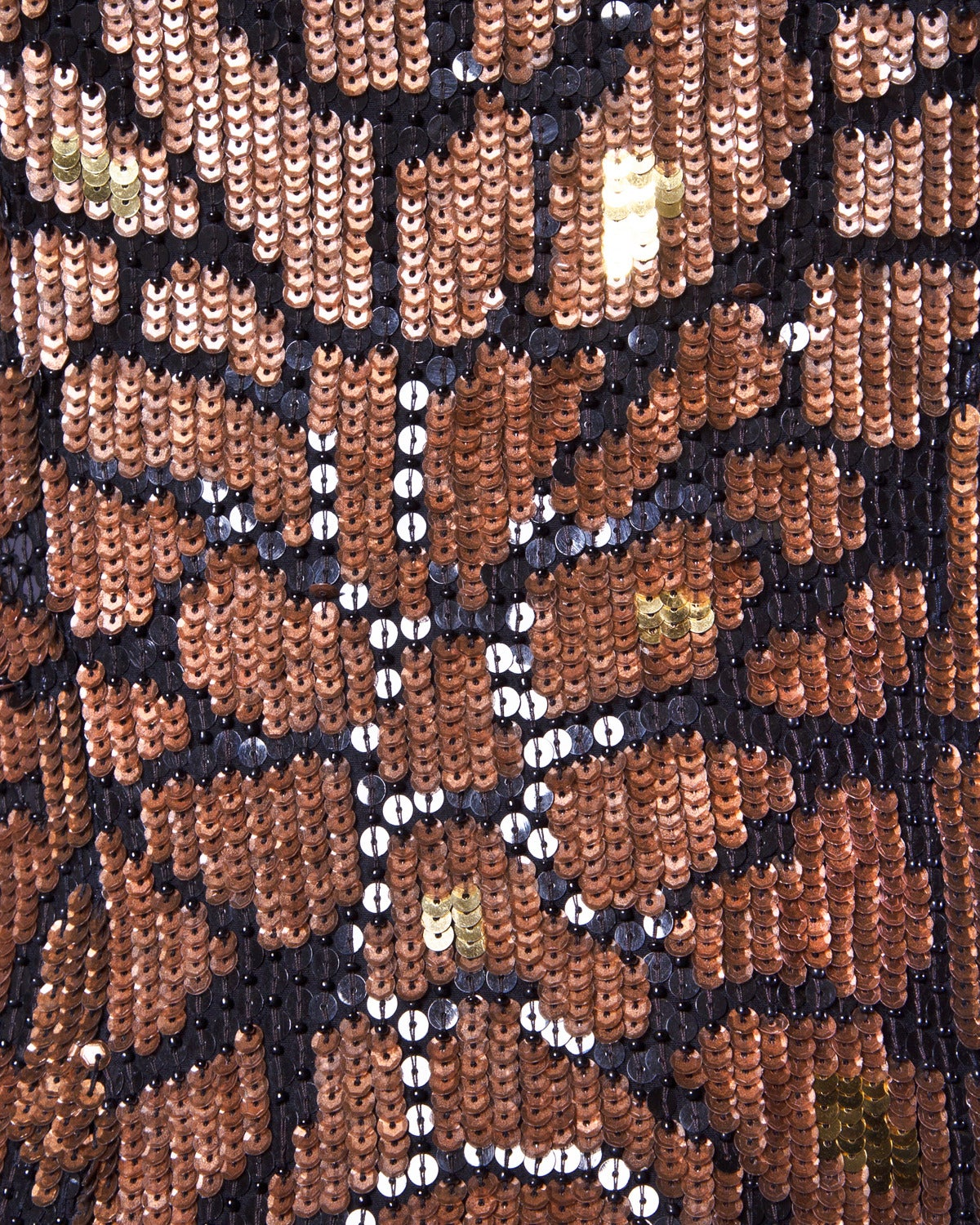 Brown Naeem Khan Riazee Vintage Metallic Sequin + Beaded Cocktail Dress For Sale