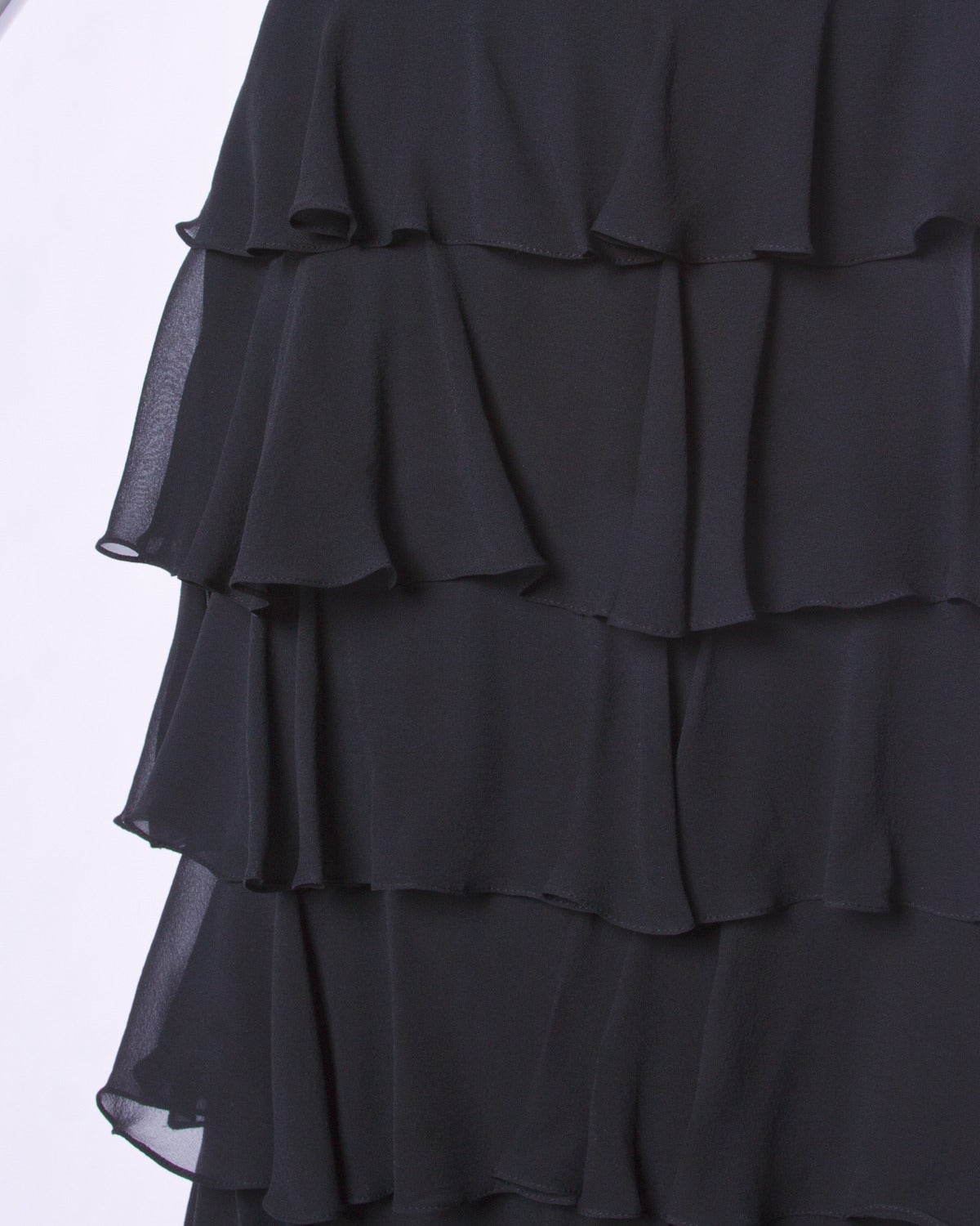 Lillie Rubin Vintage Black Tiered Silk Chiffon Strapless Evening Gown For Sale 1