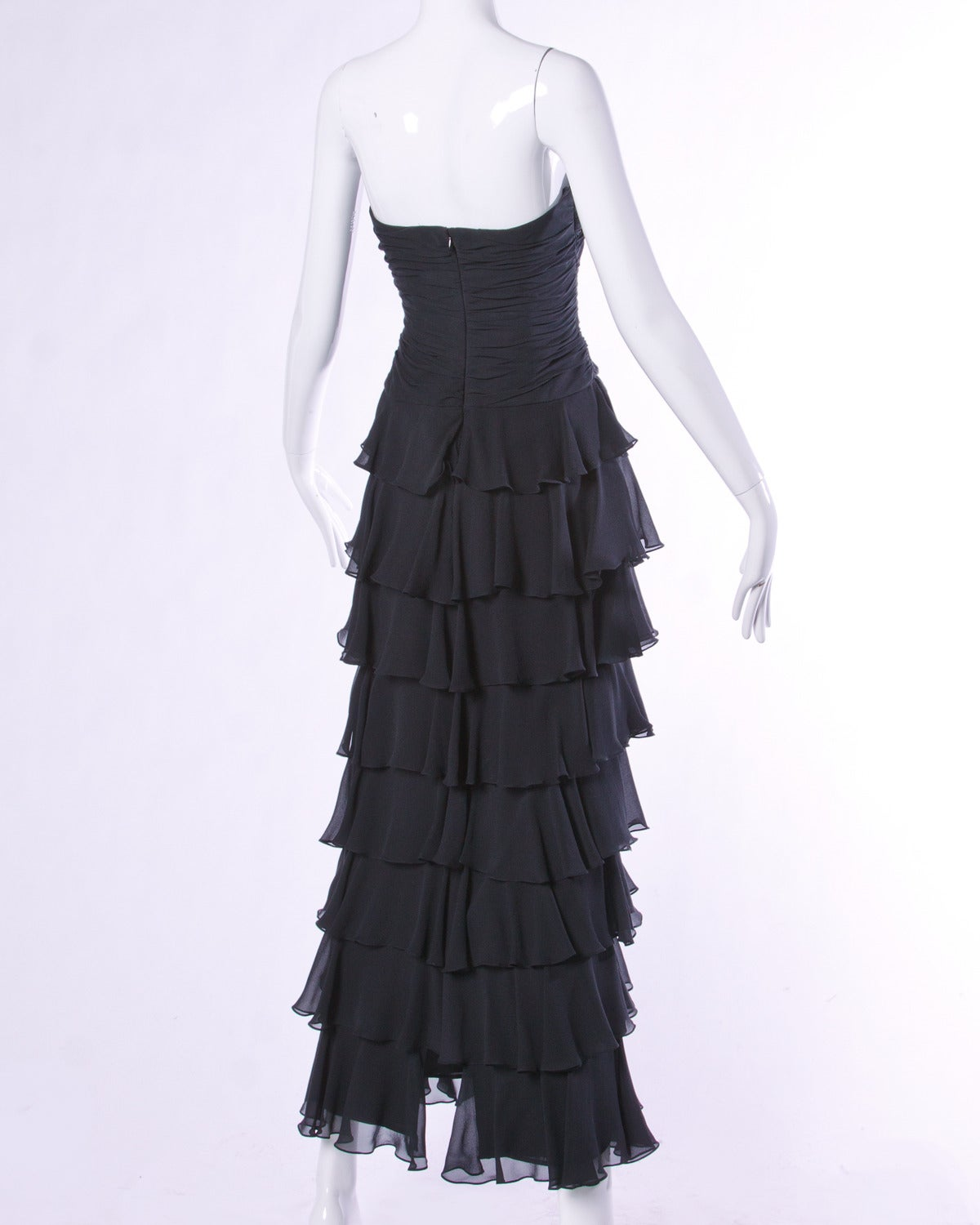 Lillie Rubin Vintage Black Tiered Silk Chiffon Strapless Evening Gown For Sale 2