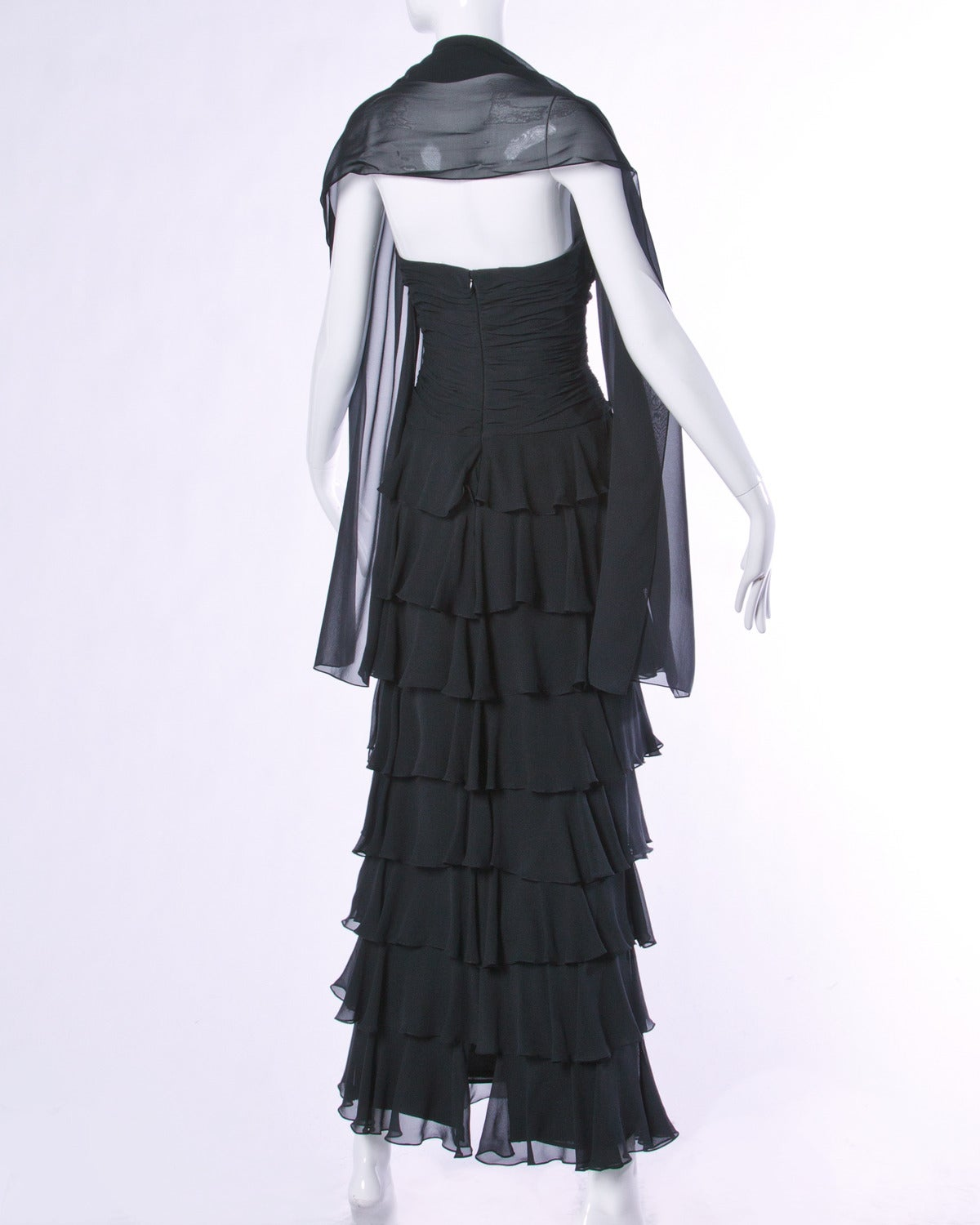 Lillie Rubin Vintage Black Tiered Silk Chiffon Strapless Evening Gown For Sale 3