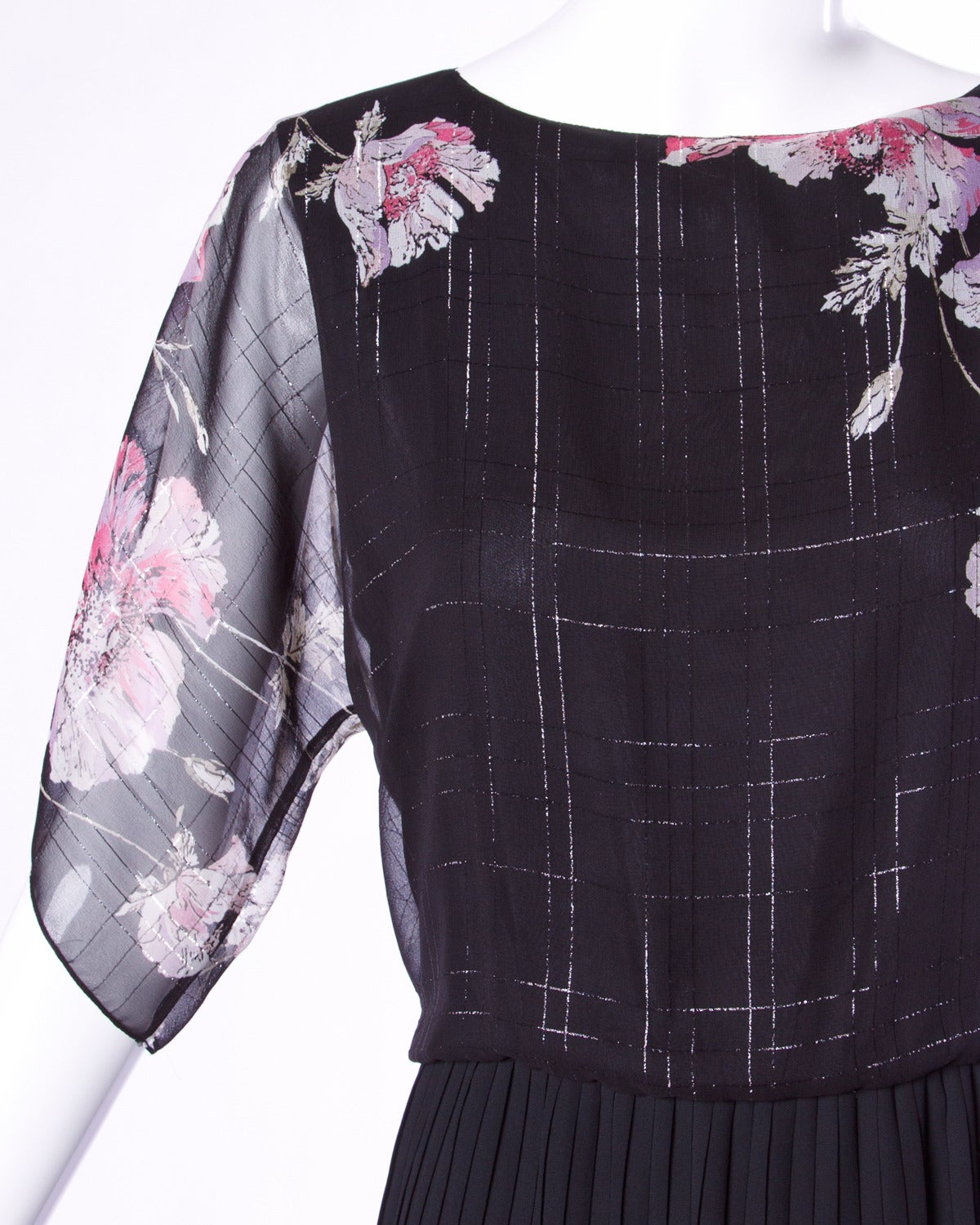 Reduced from $495! Vintage black dress with floral printed sheer flutter sleeves and metallic accents by Hanae Mori.