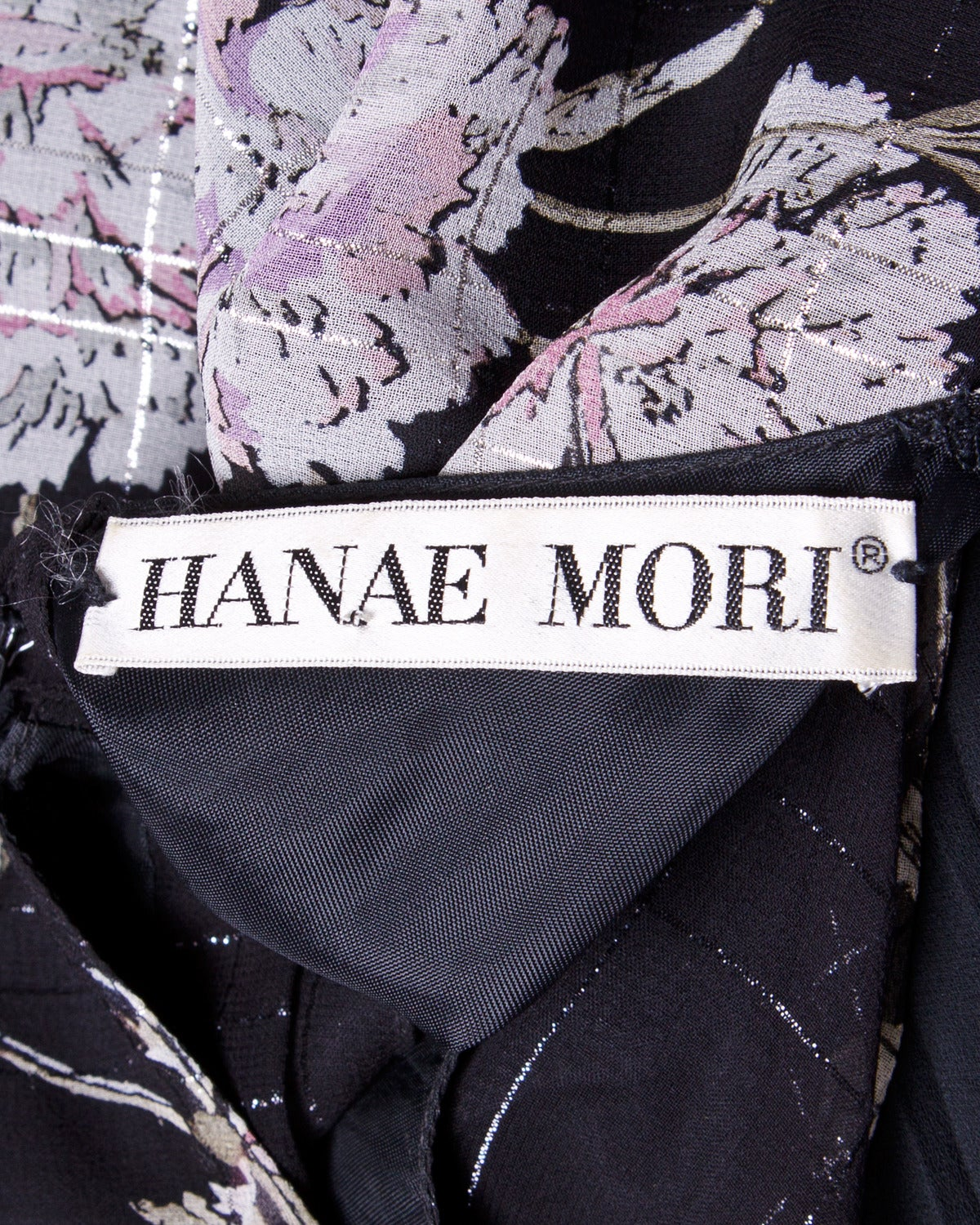 Hanae Mori Vintage 1970s 70s Sheer Floral Print Metallic Dress For Sale 2