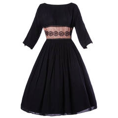 Vintage 1950s 50s Nude Illusion Black Lace Full Sweep Party Dress